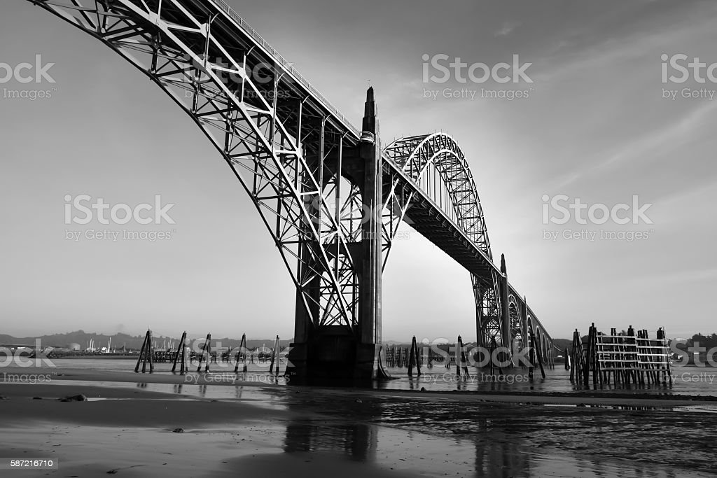 Yaquina Bay Bridge, Newport, Oregon stock photo