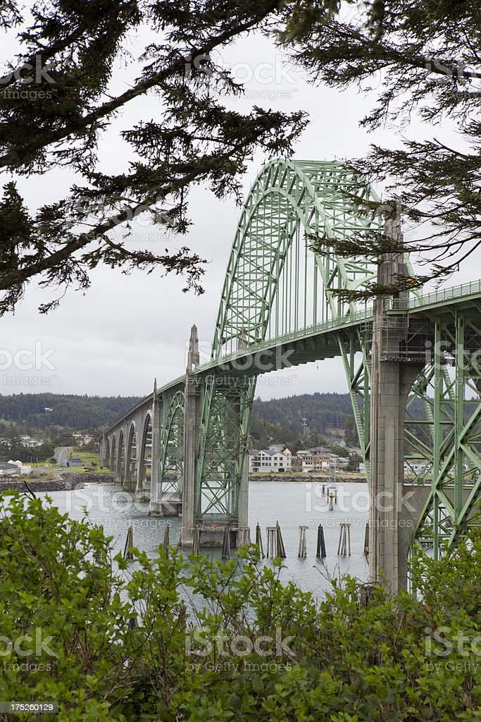 Yaquina Bay Bridge on The Oregon Coast stock photo