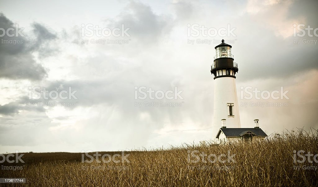 Yaquina Bay Lighthouse with Copy Space stock photo
