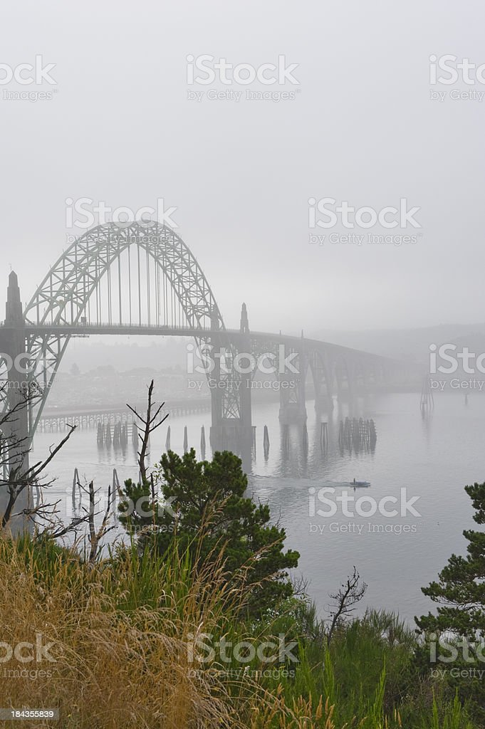 Yaquina Bridge Newport Oregon in Fog V stock photo