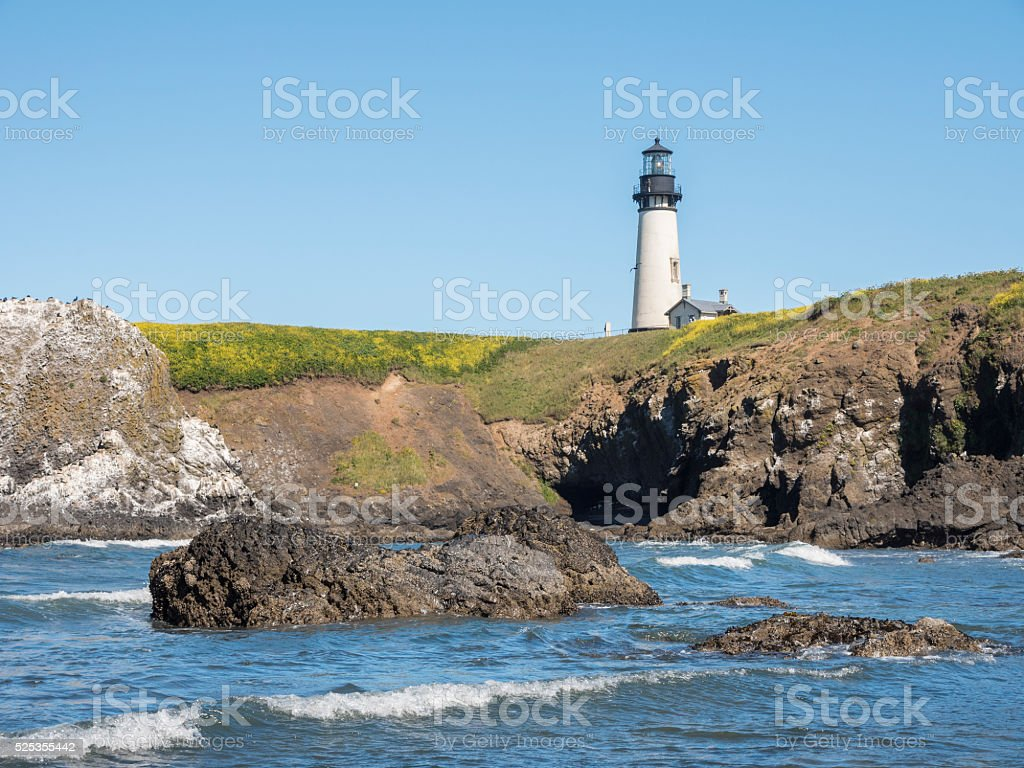 Yaquina Head lighthouse, Central Oregon coast stock photo