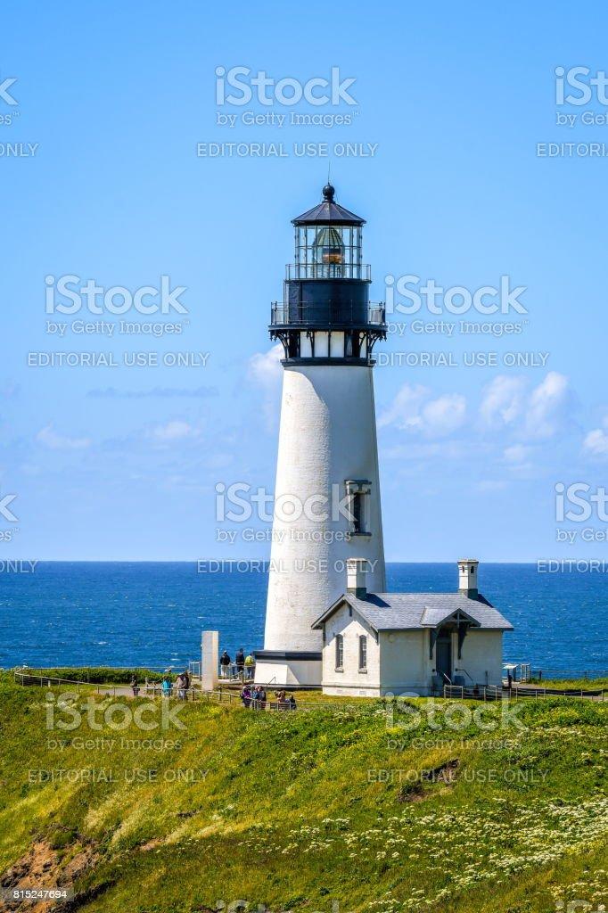 Yaquina Head lighthouse on the central Oregon coast stock photo