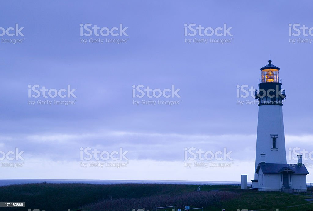 Yaquina Head Lighthouse on the Oregon Coast stock photo