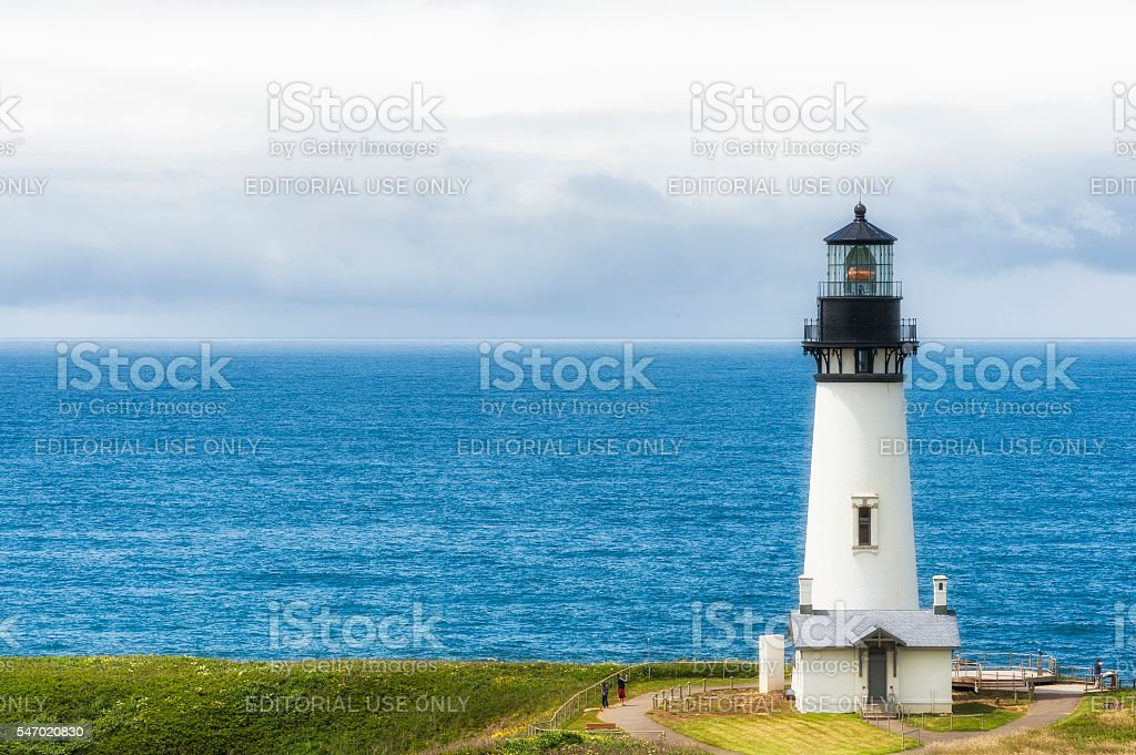 Yaquina Head Lighthouse view from Salal Hill stock photo