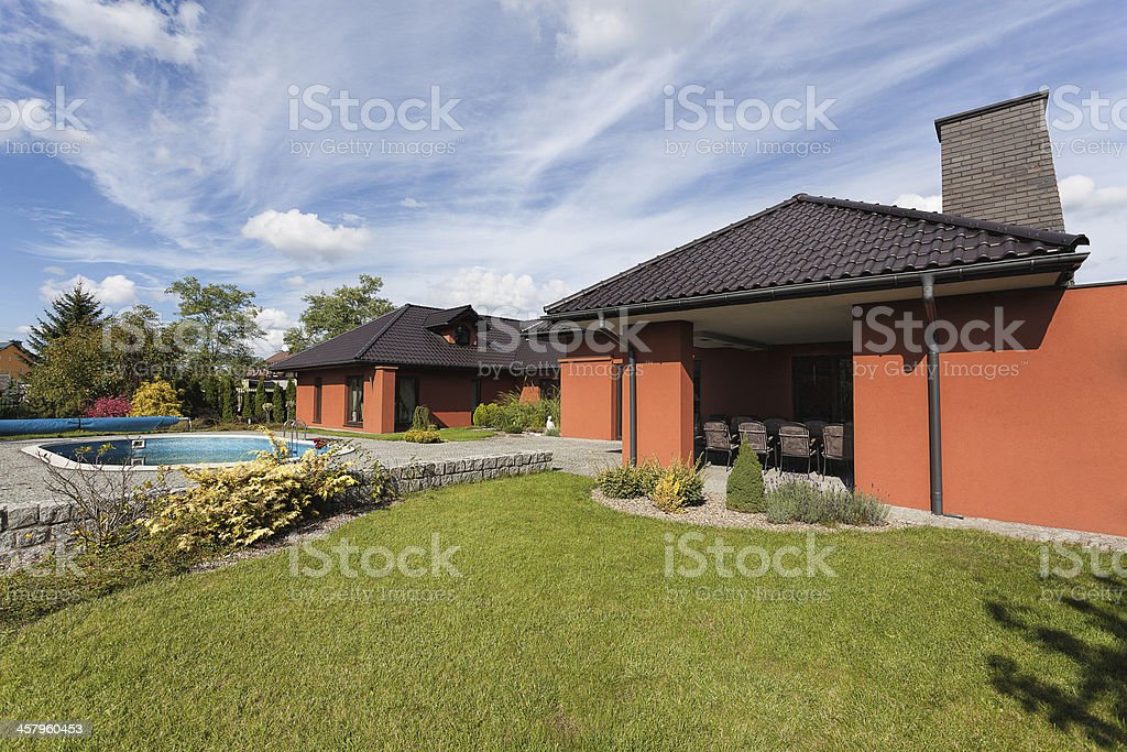 Yard and luxury mansion royalty-free stock photo