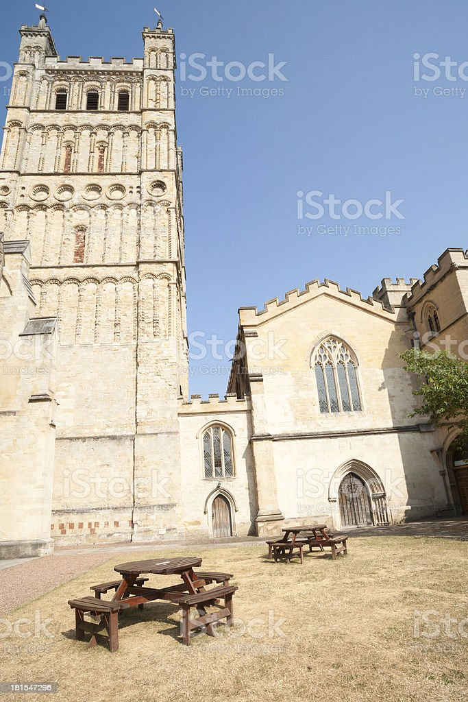 Yard behind Exeter Cathedral. stock photo