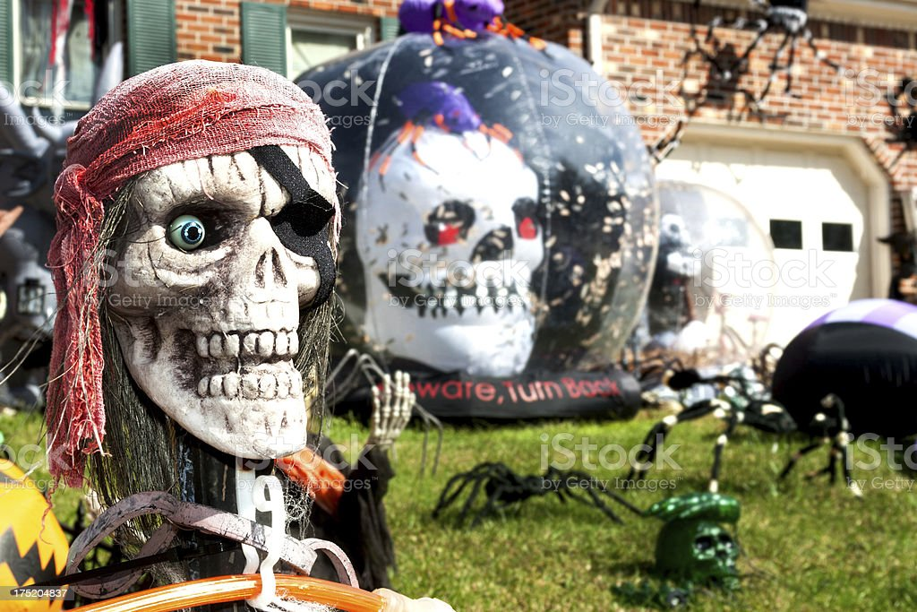 Yard decorated for Halloween royalty-free stock photo