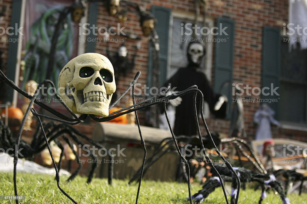 Yard decorated for Halloween stock photo