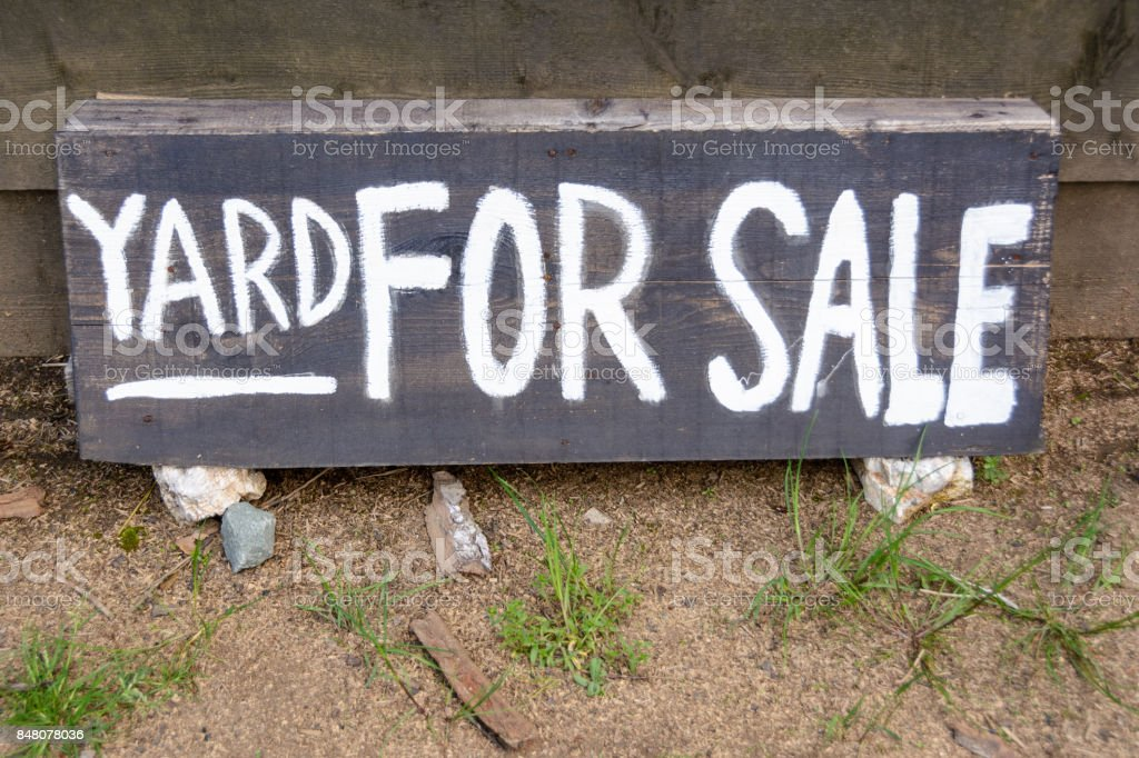 yard for sale text stock photo