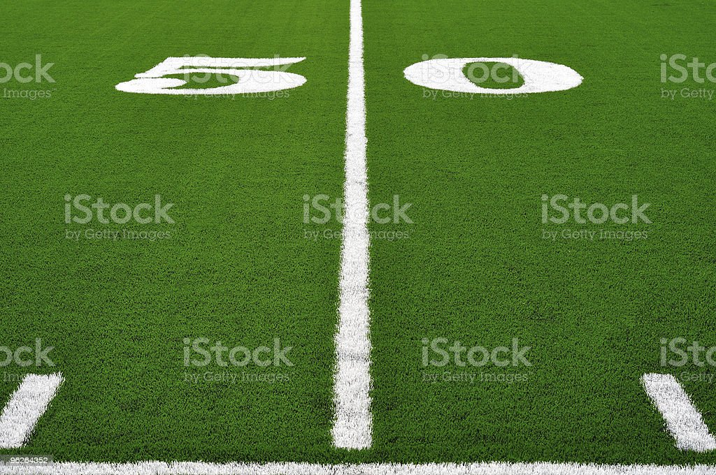50 Yard Line on American Football Field stock photo