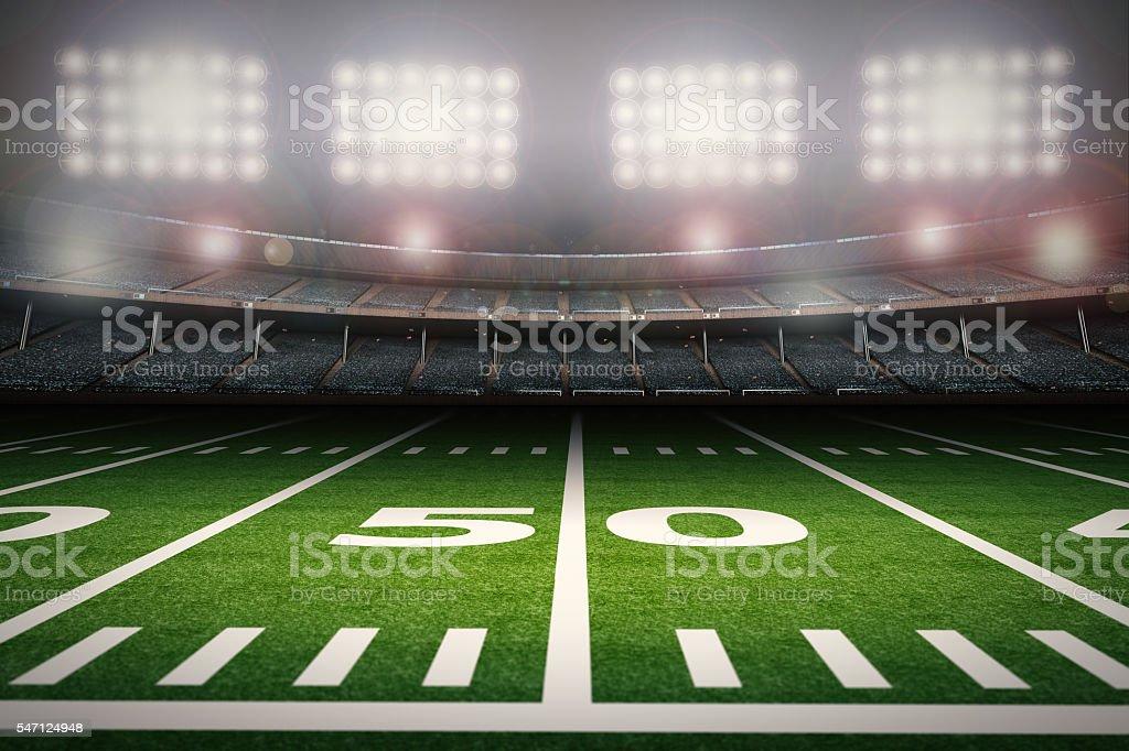 50 yard line stock photo