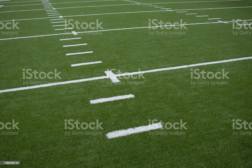 Yard lines on a football field stock photo