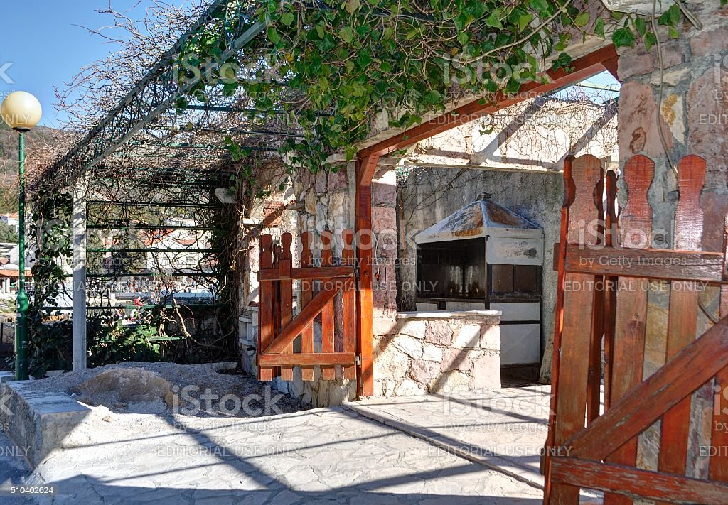 Yard of the Montenegrin family house. stock photo