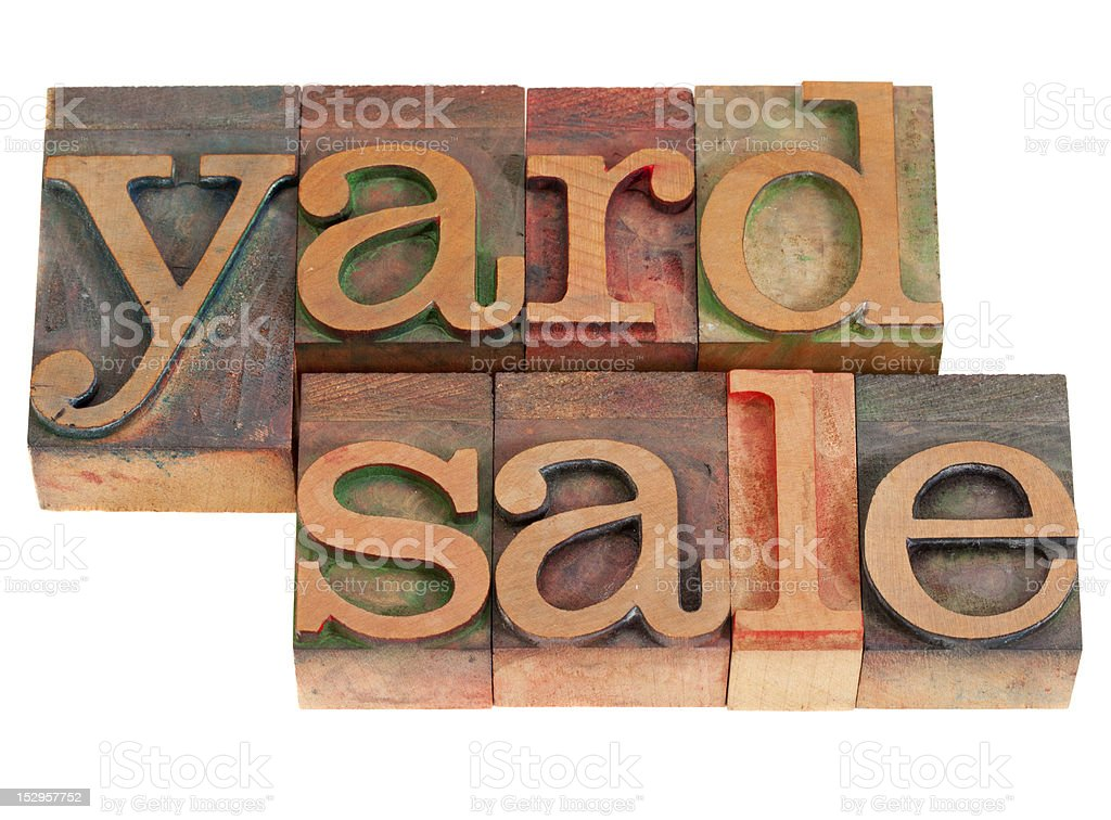 yard sale in lettepress type stock photo