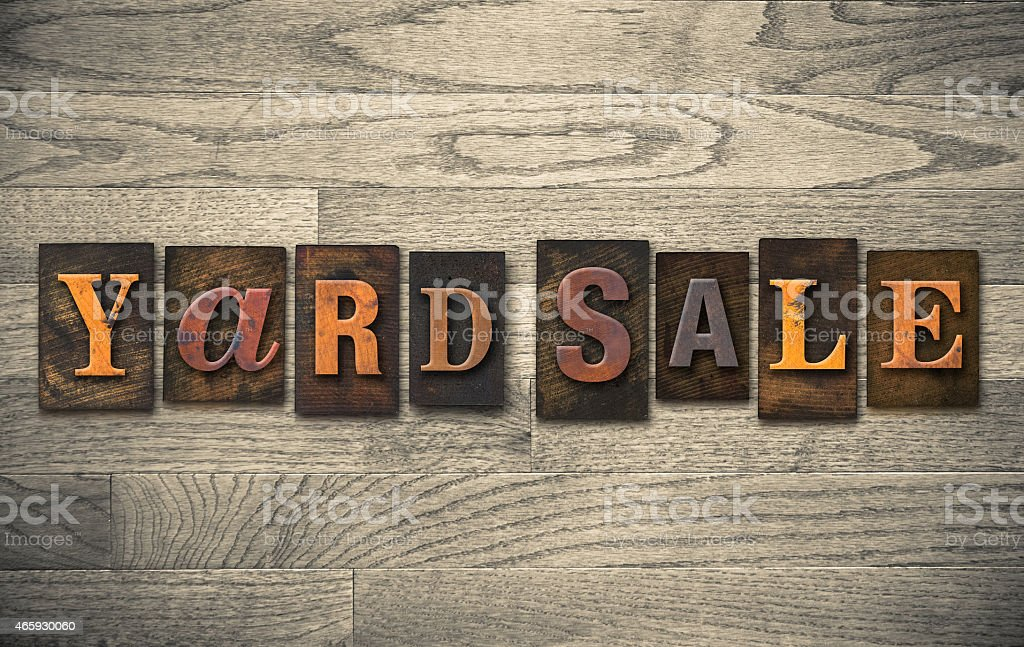 Yard Sale Wooden Letterpress Concept stock photo