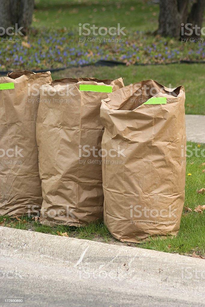yard waste bag trio stock photo