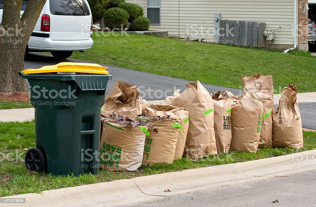 yard waste bags three stock photo