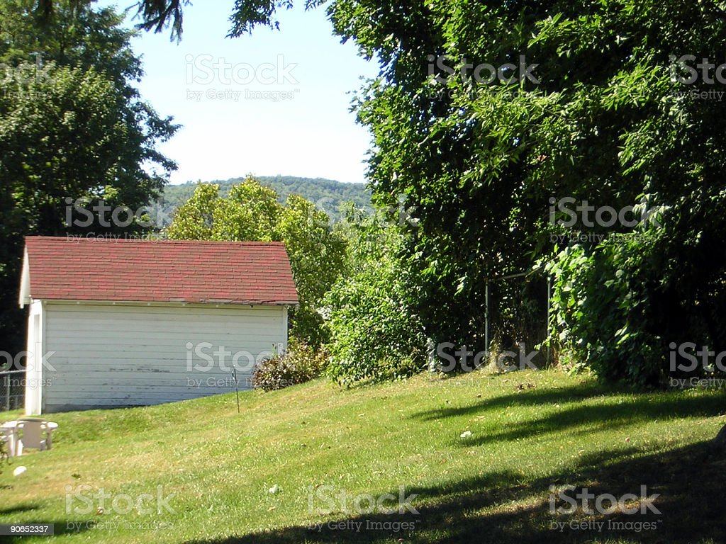 Yard with shed stock photo