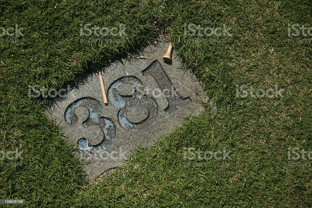 Yardage marker for a 381 yard par 4 stock photo