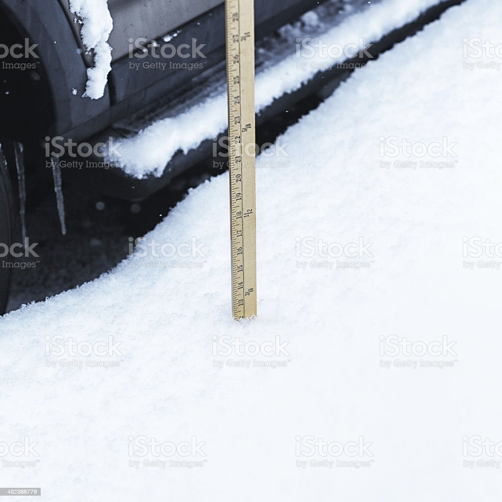Yardstick Showing One Foot of Snow stock photo