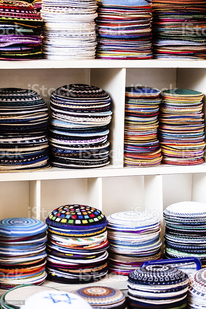 Yarmulke - traditional Jewish headwear, Israel. stock photo