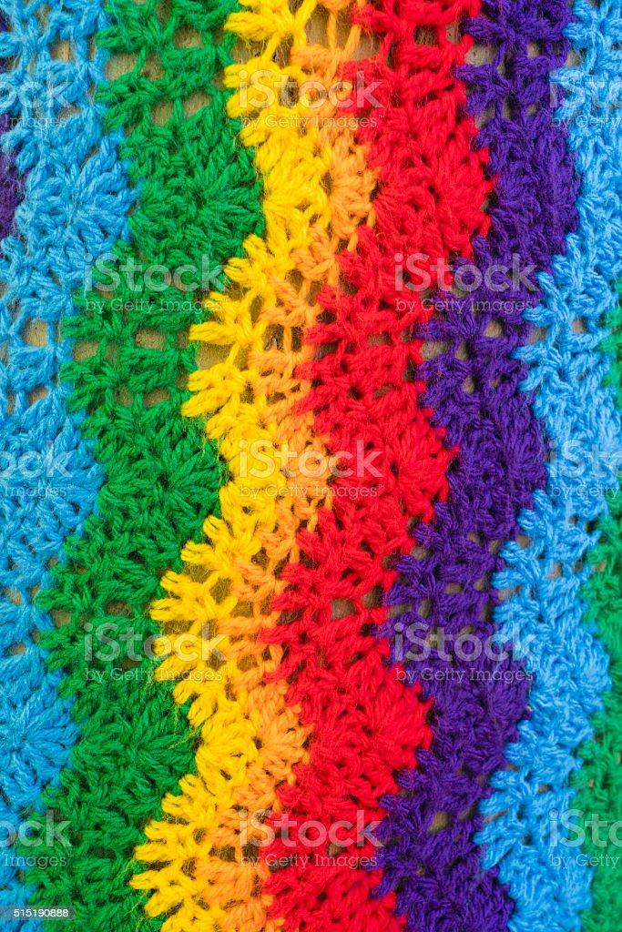 Yarn bombing, guerrilla knitting on a tree stock photo
