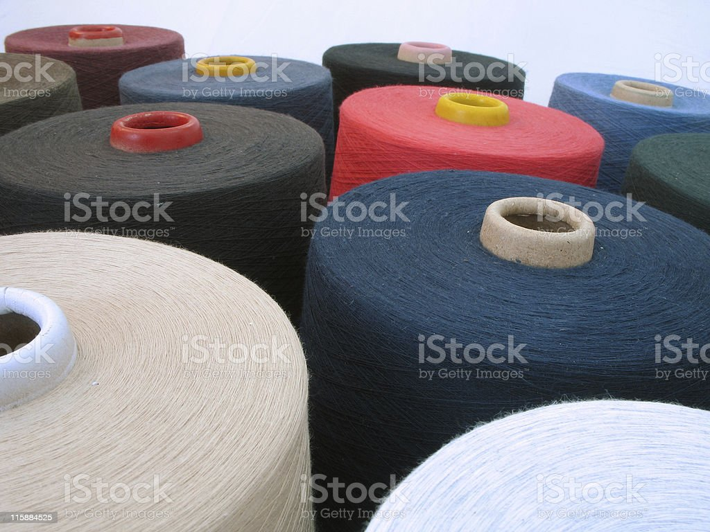 Yarn Cones in mix colors stock photo
