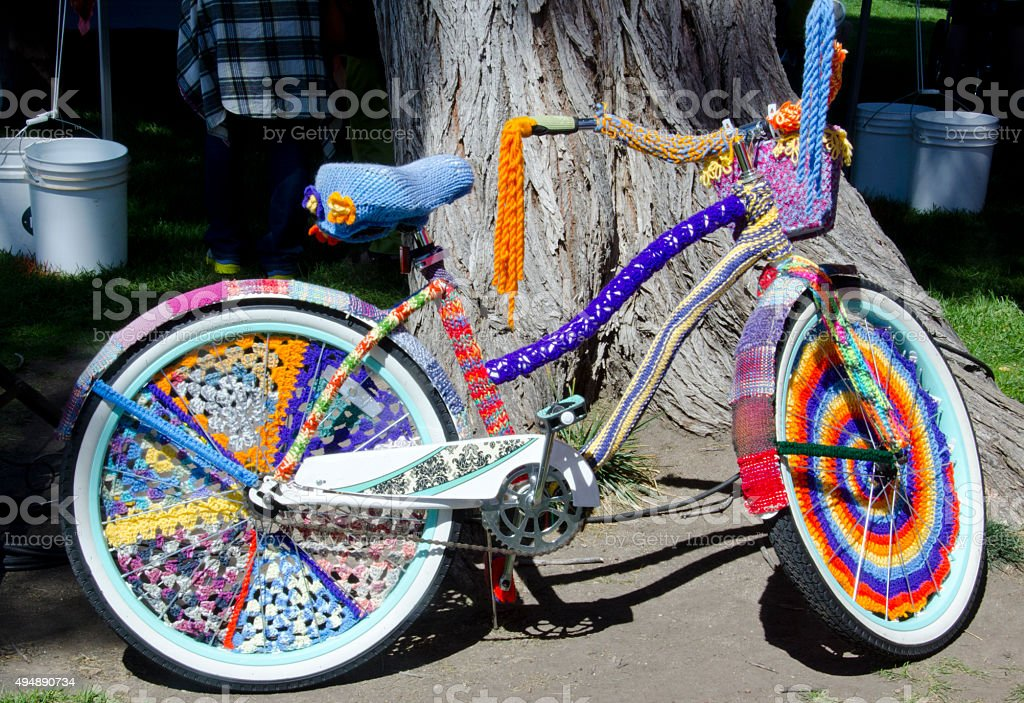 Yarn Covered Bicycle stock photo