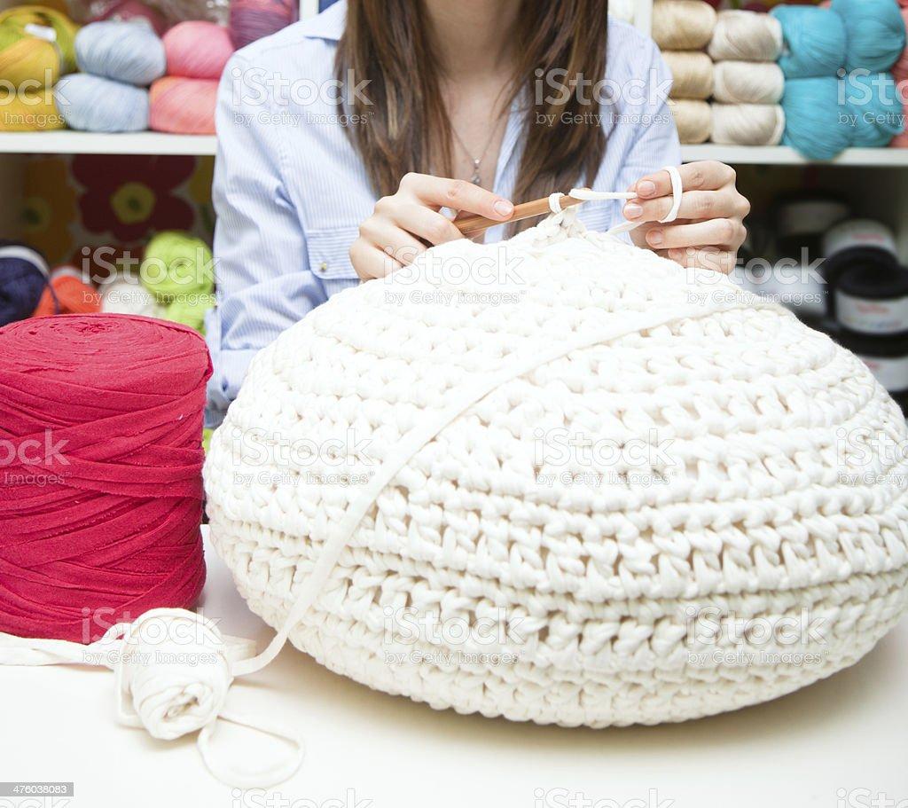 Yarn cushion royalty-free stock photo