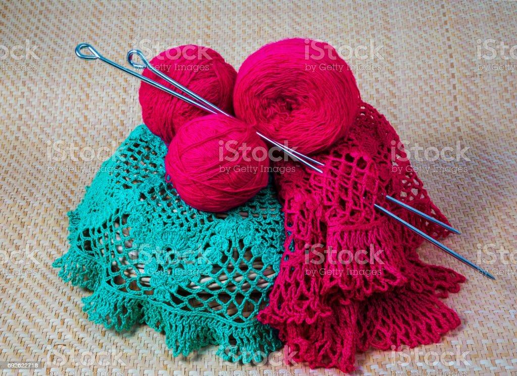 yarn for knitting needles stock photo