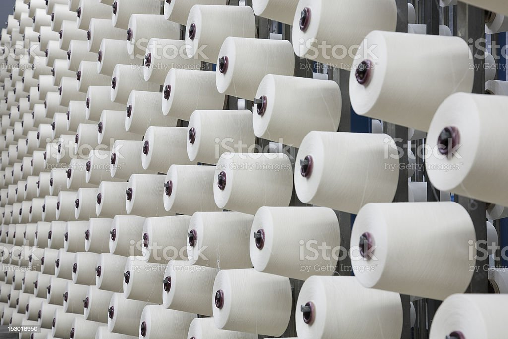 yarn warping in a textile weaving mill stock photo
