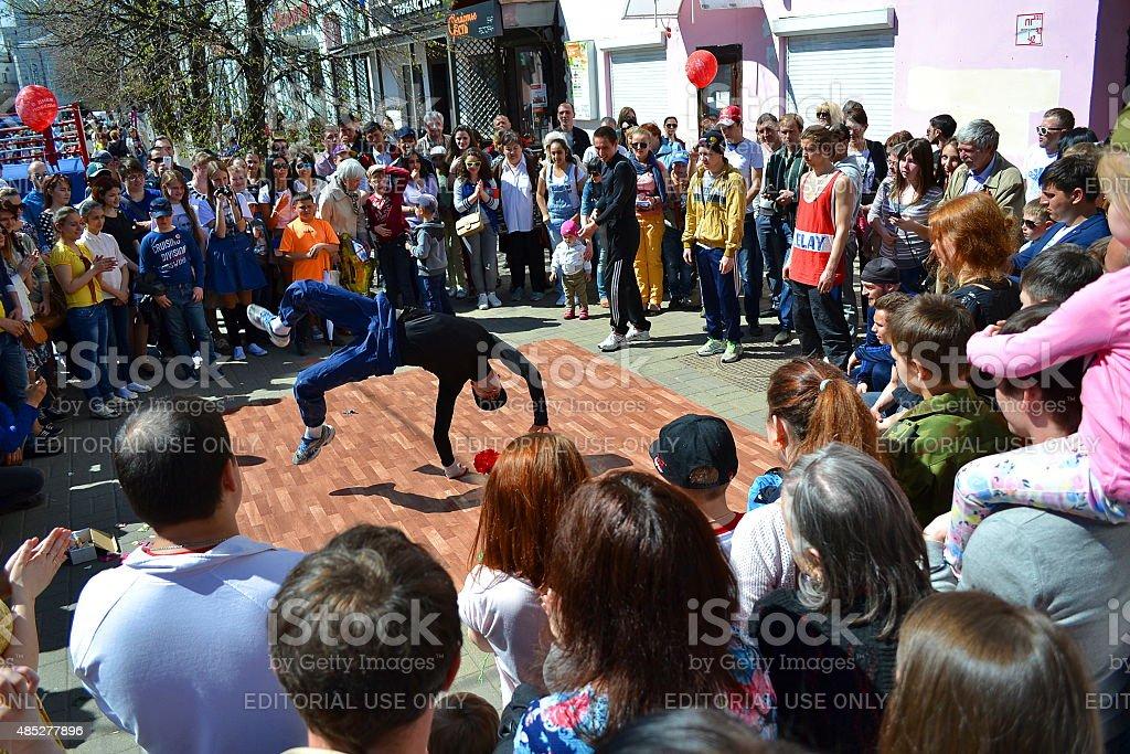 Yaroslavl, Russia, street, people, performance, breakdancing, dance. City. stock photo