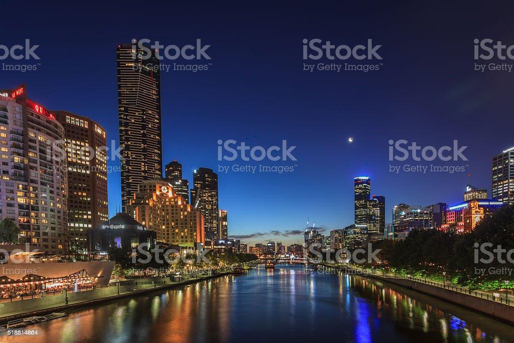 Yarra River night show stock photo