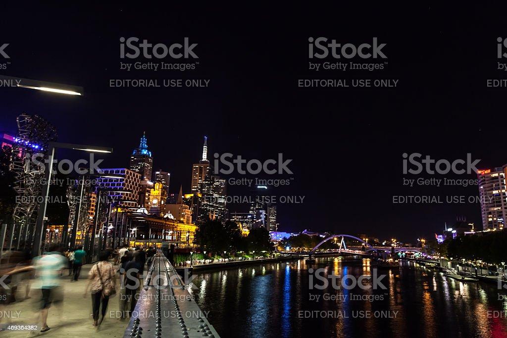 Yarra River on Melbourne White Night 2015 stock photo
