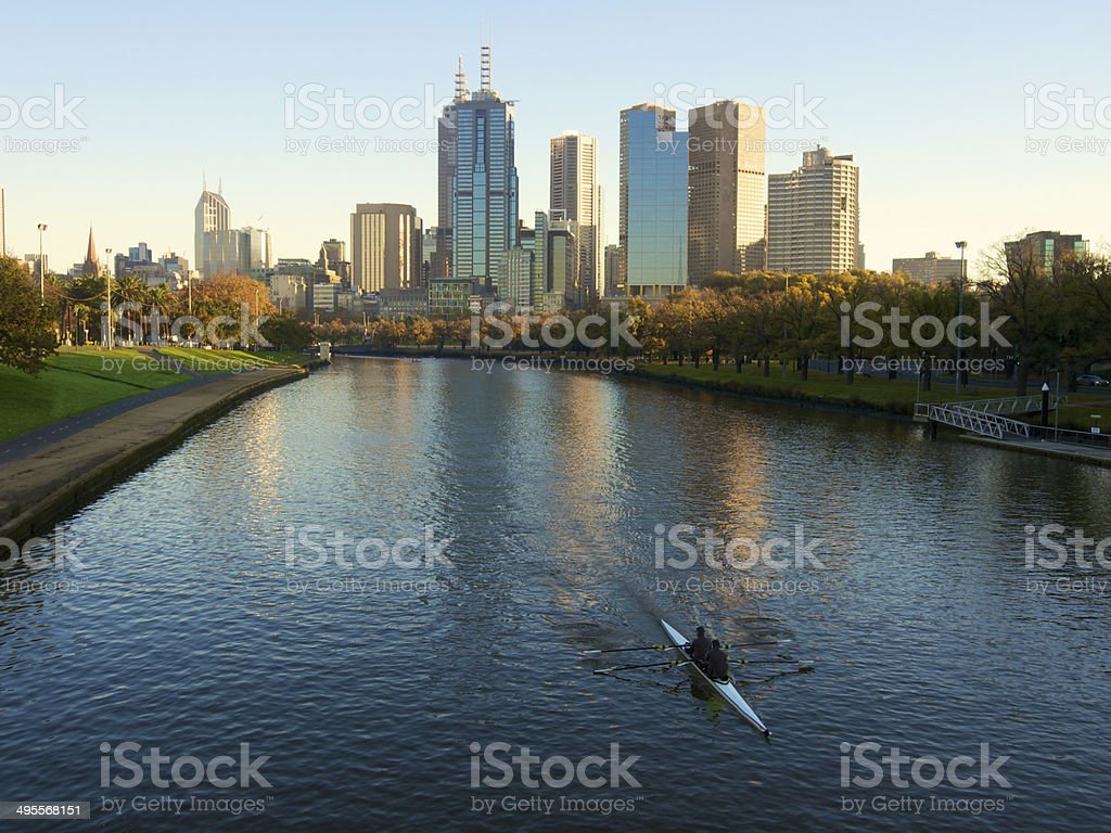 yarra river rowers stock photo