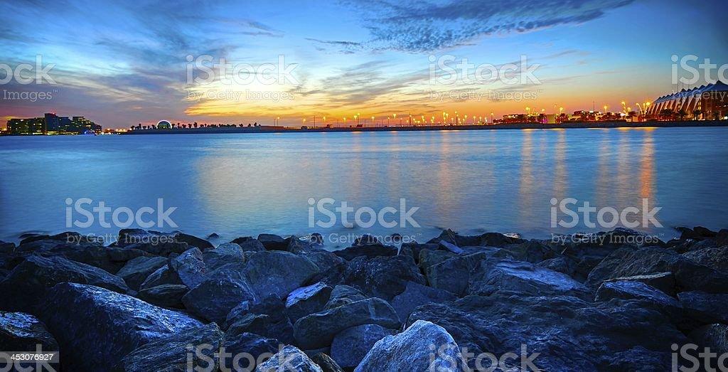 Yas Island at Night stock photo