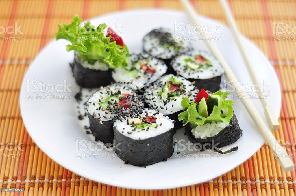 Yasai sushi roll royalty-free stock photo