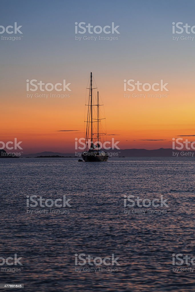 Yatch in Sunset royalty-free stock photo