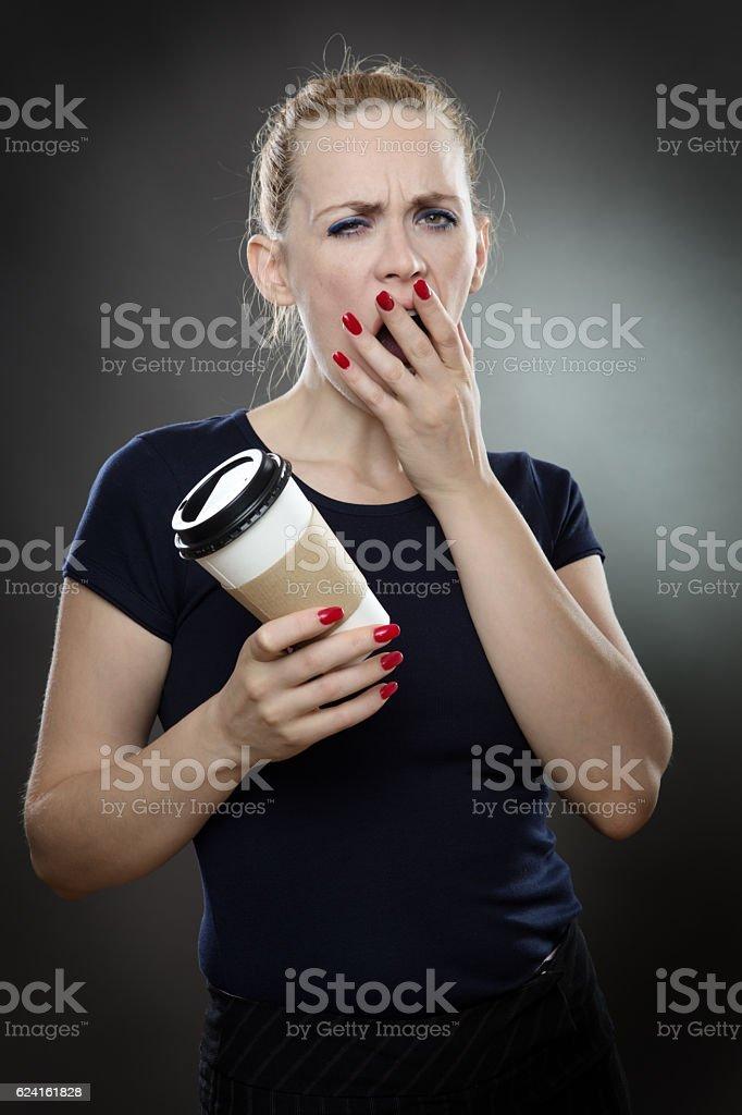 yawing business woman stock photo