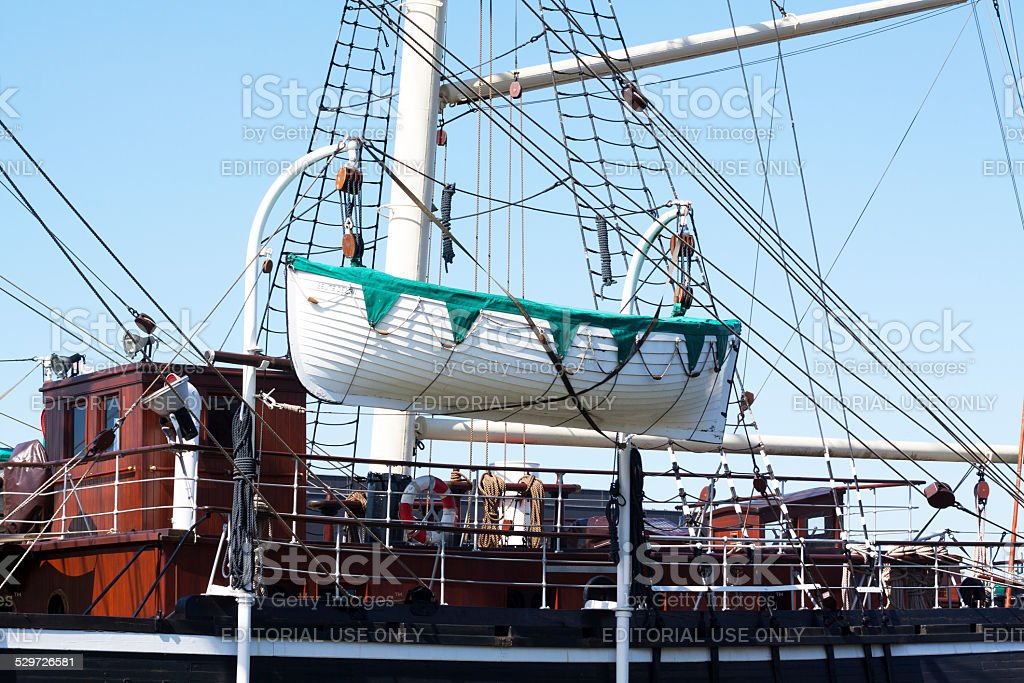 Yawl and deck of shop Seute Deern stock photo