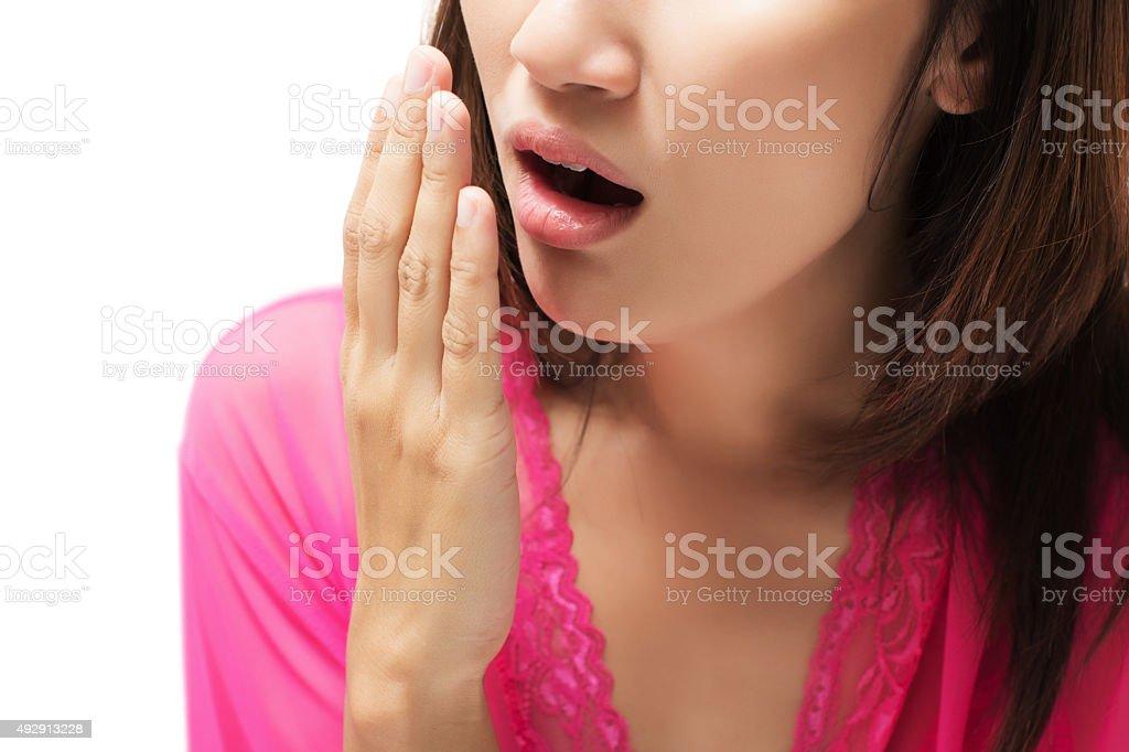 Yawning stock photo