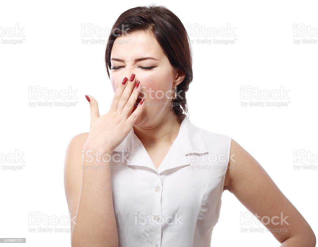Yawning tired woman stock photo