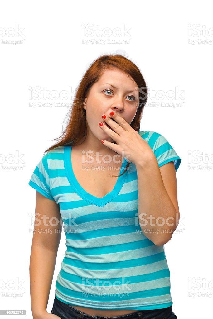 Yawning woman stock photo