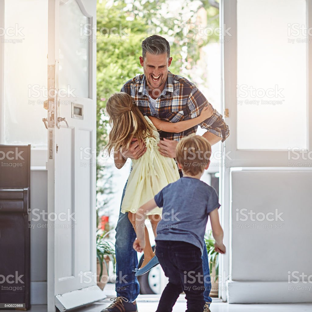 Yay, it's dad! stock photo