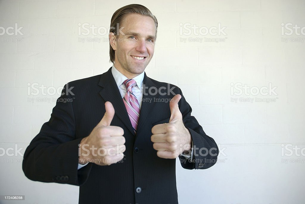 Yeah Baby! Enthusiastic Businessman Giving Two Thumbs Up royalty-free stock photo