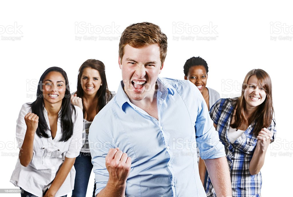 Yeah Five happy people clench fists in approval royalty-free stock photo
