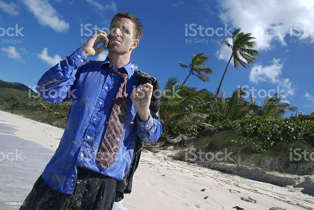 Yeah, I Flew Economy Businessman Stranded on Tropical Beach stock photo