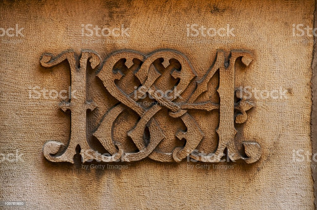 Year 1884 Carving stock photo