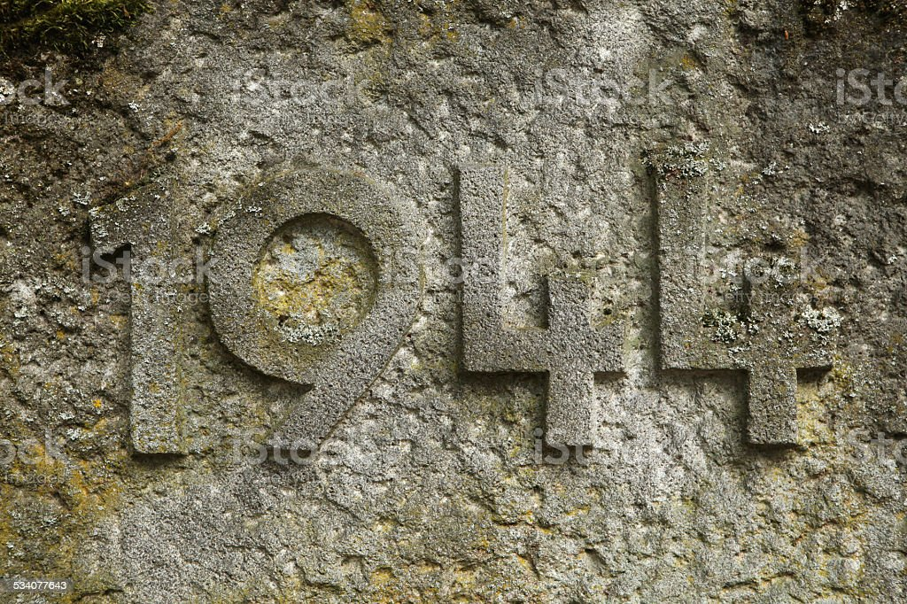 Year 1944 of World War II carved in stone. stock photo