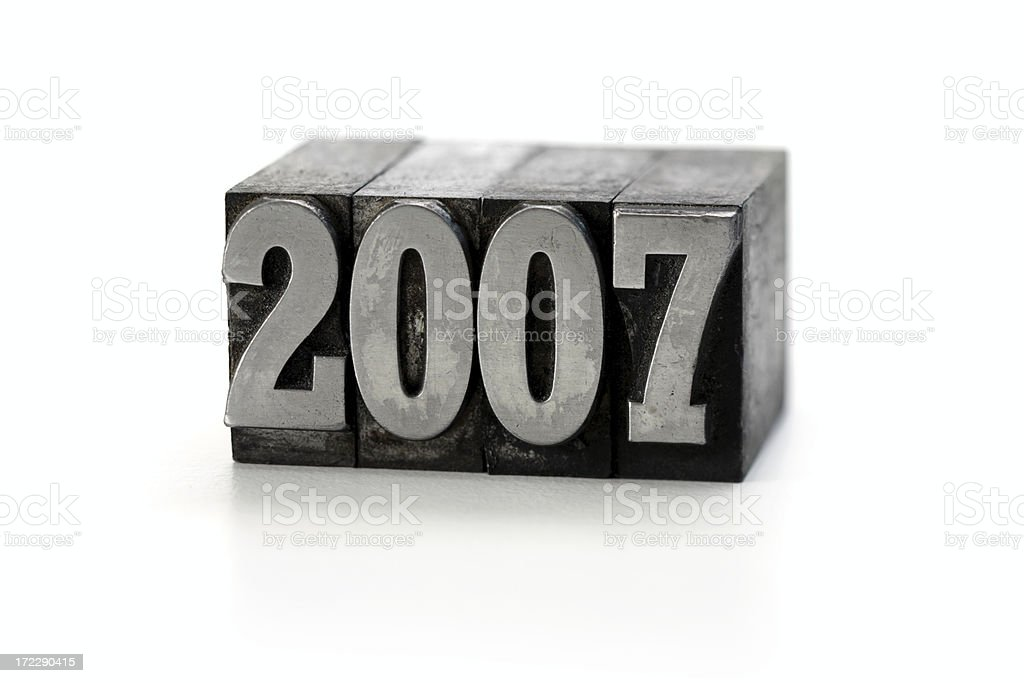 year 2007  letterpress royalty-free stock photo